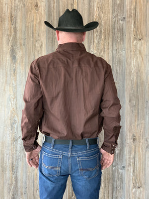 Men's Going Out Brown Button Up Shirt
