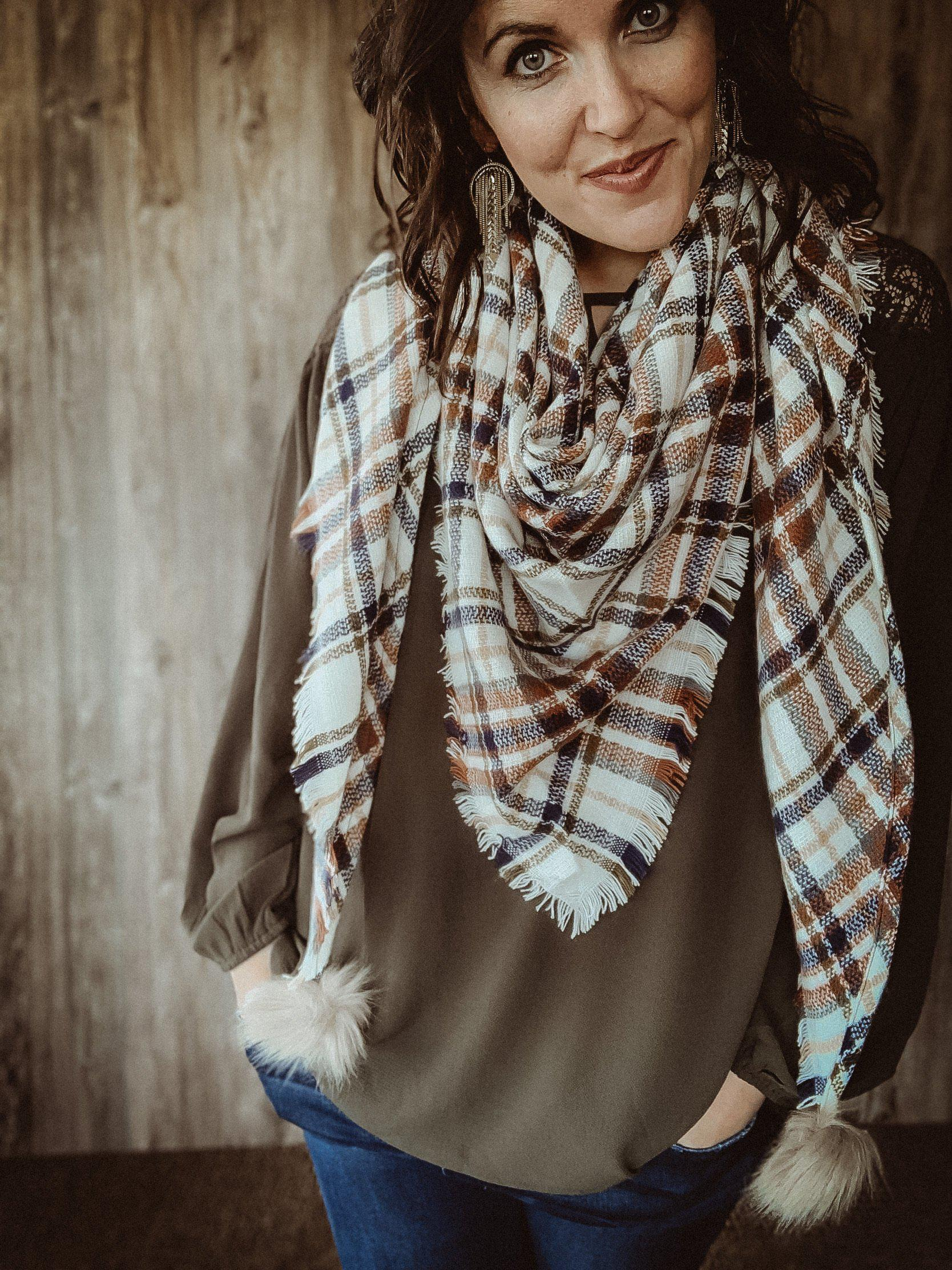 Afternoon Stroll Ivory Plaid Triangle Scarf