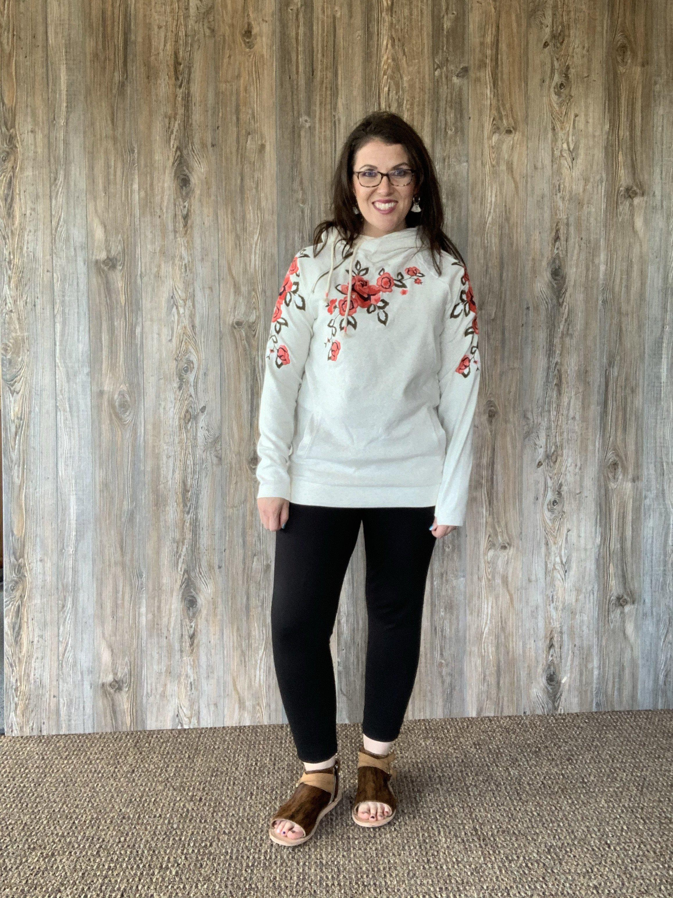 Ampersand Ave Doublehood Sweatshirt - Embroidered Oatmeal