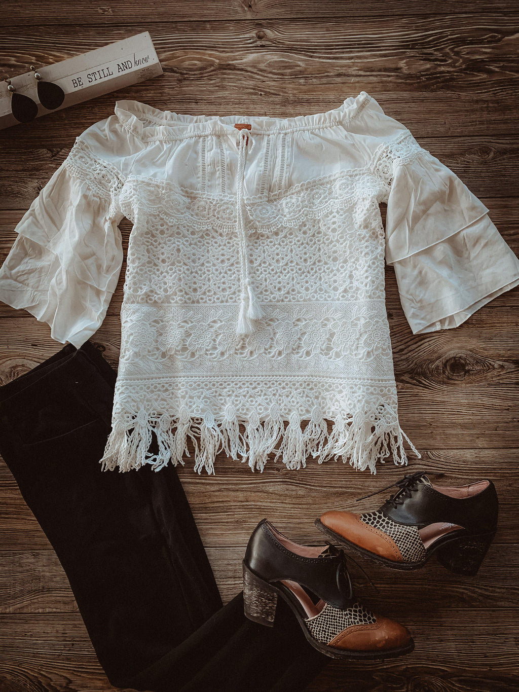 Tiered Off White Lace Blouse