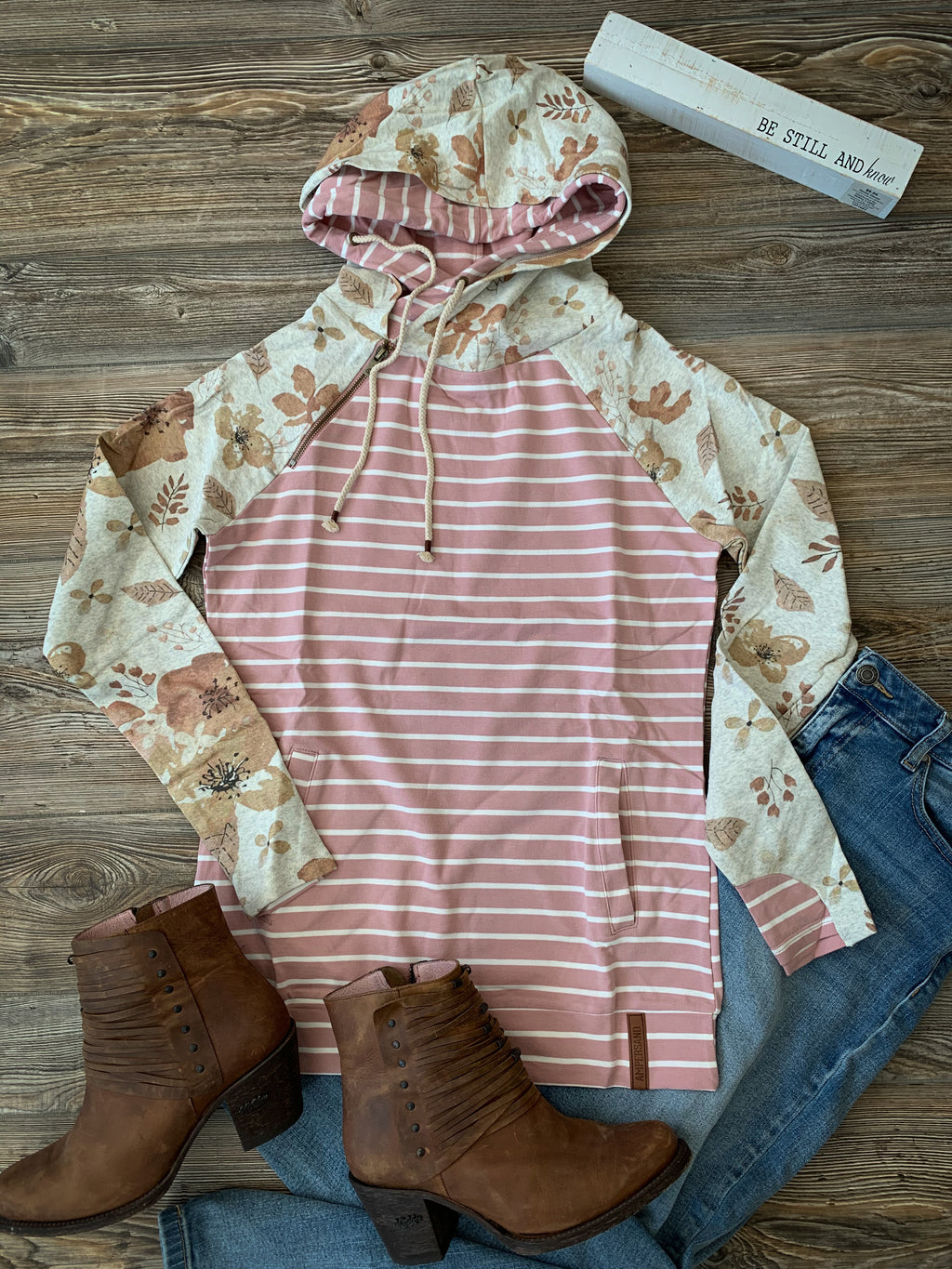 Ampersand Ave Blush Striped & Floral Doublehood Sweatshirt