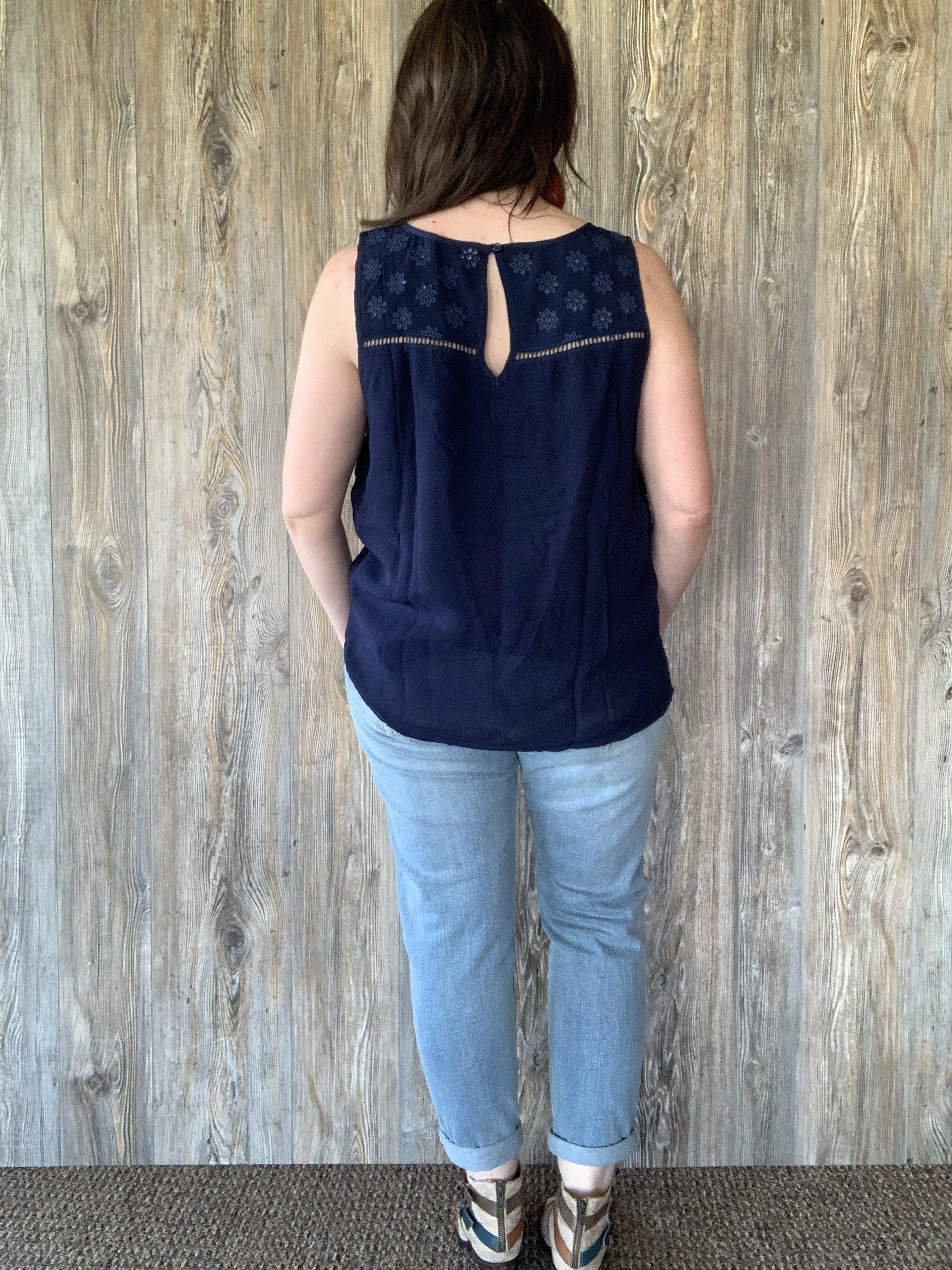 Navy Tank Top with Lace