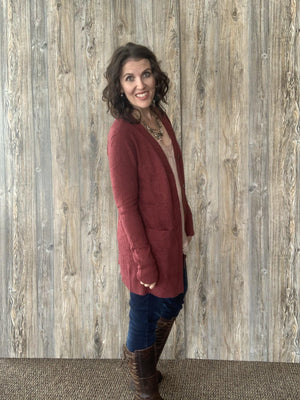 Bamboo Button Cardi in Fired Brick