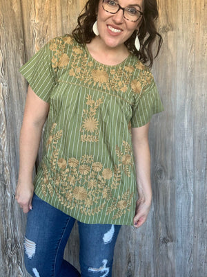 Olive Green and Tan Embroidered Top