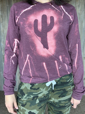 Dusty Rose Cactus Long Sleeve Tee