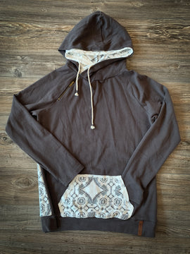 Ampersand Ave Doublehood Charcoal Sweatshirt with Lace Accents