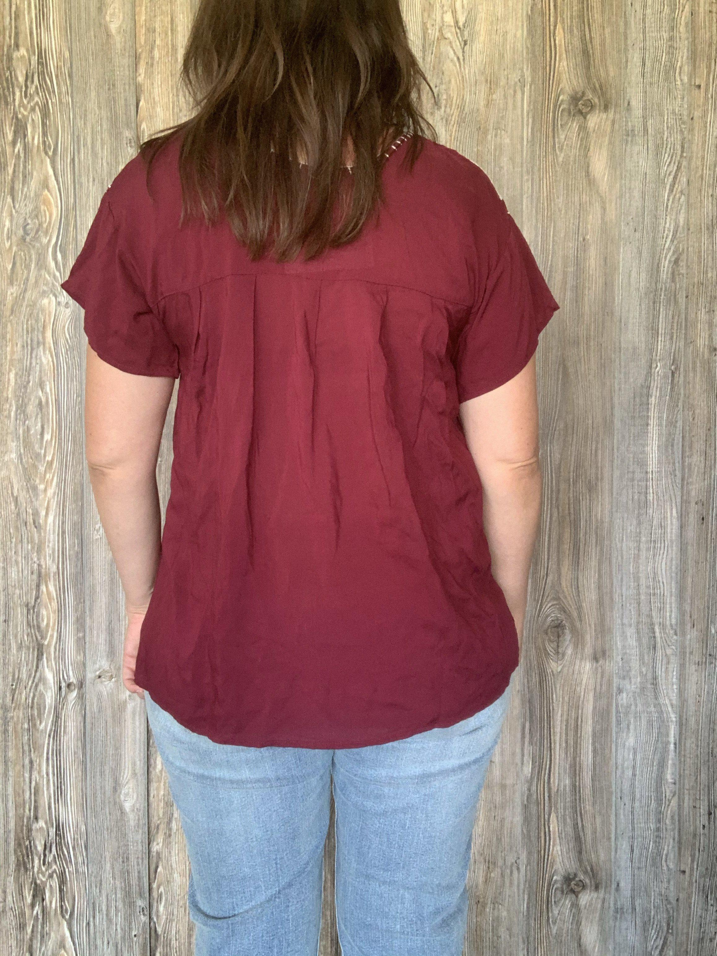 Maroon and White Short Sleeved Top