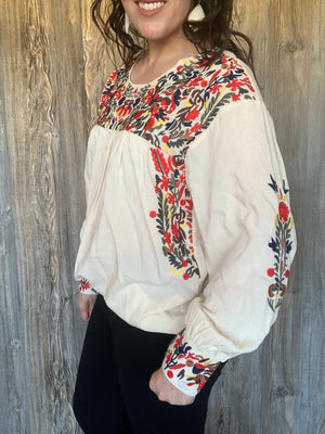 Long Sleeve Cream Top with Multi-Color Embroidery