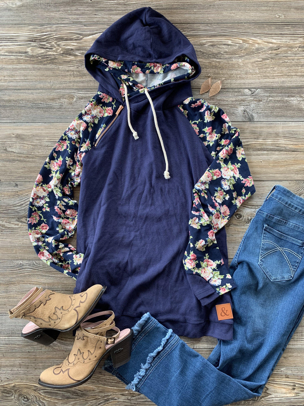 Ampersand Ave DoubleHood - Navy Floral