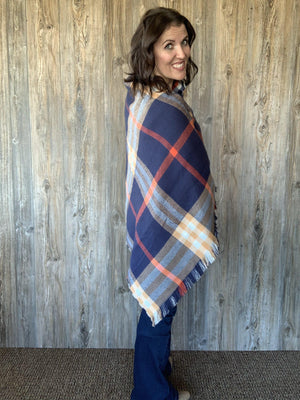 Thankful Harvest Reversible Button Scarf/Poncho