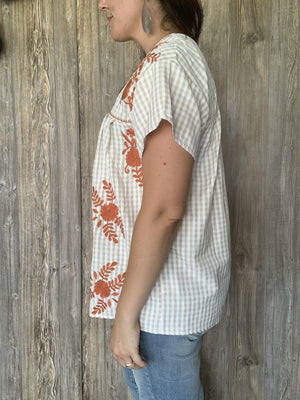 Tan and Cream Gingham Top with Embroidery