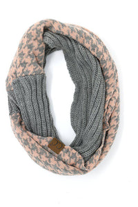 Houndstooth CC Infinity Scarf - Light Grey/Indie Pink