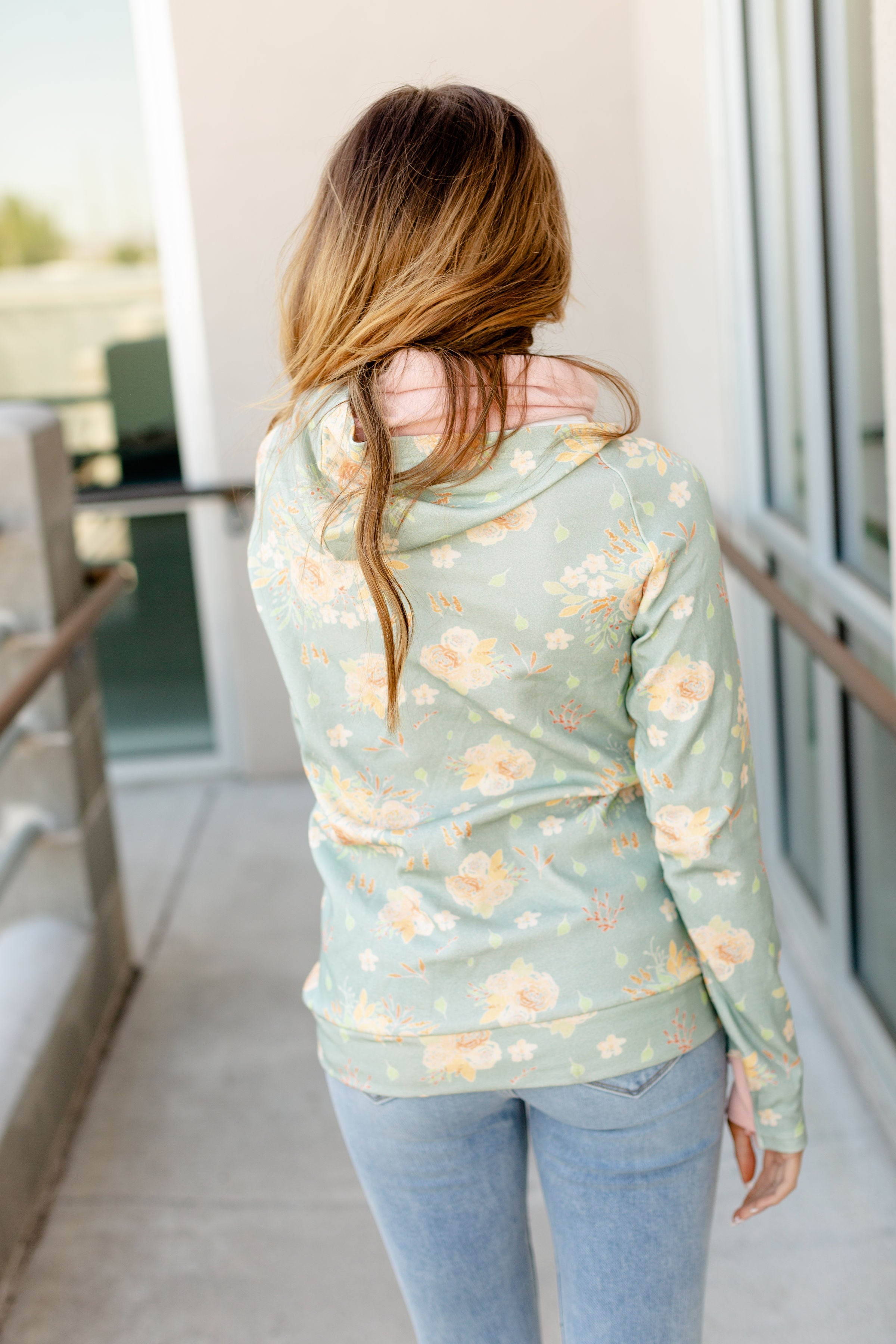 Ampersand Avenue Soft Green Floral Hoodie