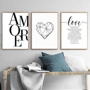 Scandinavian Style Canavas Love Pictures