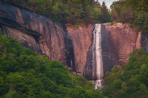 Early morning image of Hickory Nut Falls in the Chimney Rock State Park in North Carolina