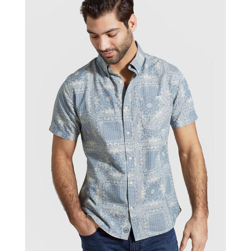 United By Blue Men's Natural Short Sleeve Button Down - Final Sale