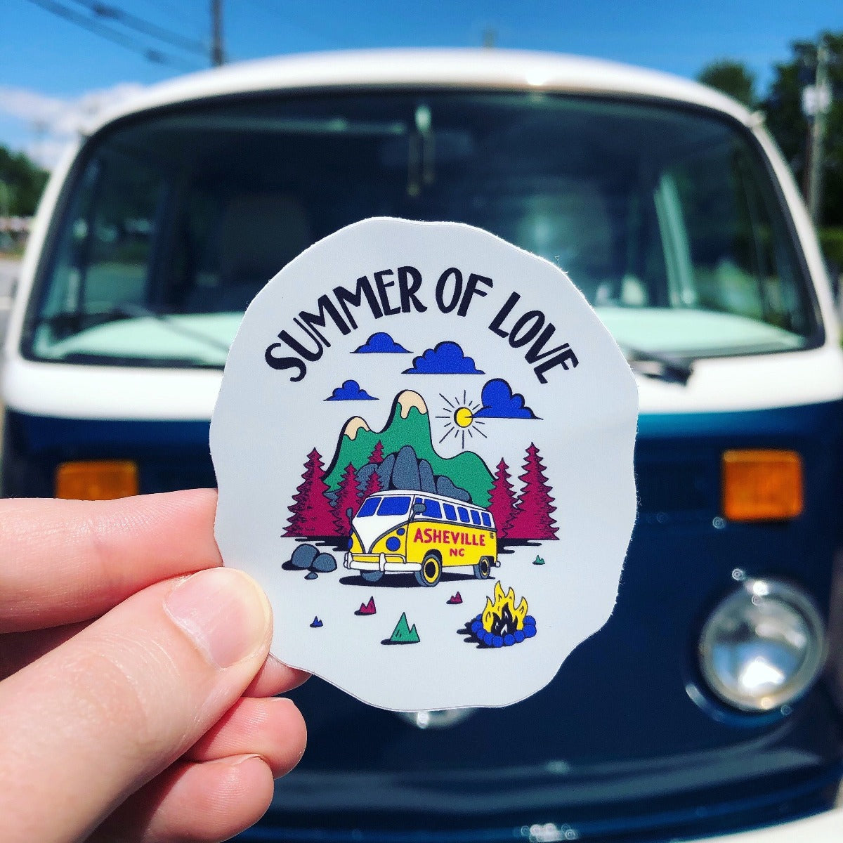 Asheville Summer of Love Van VW Bus Sticker