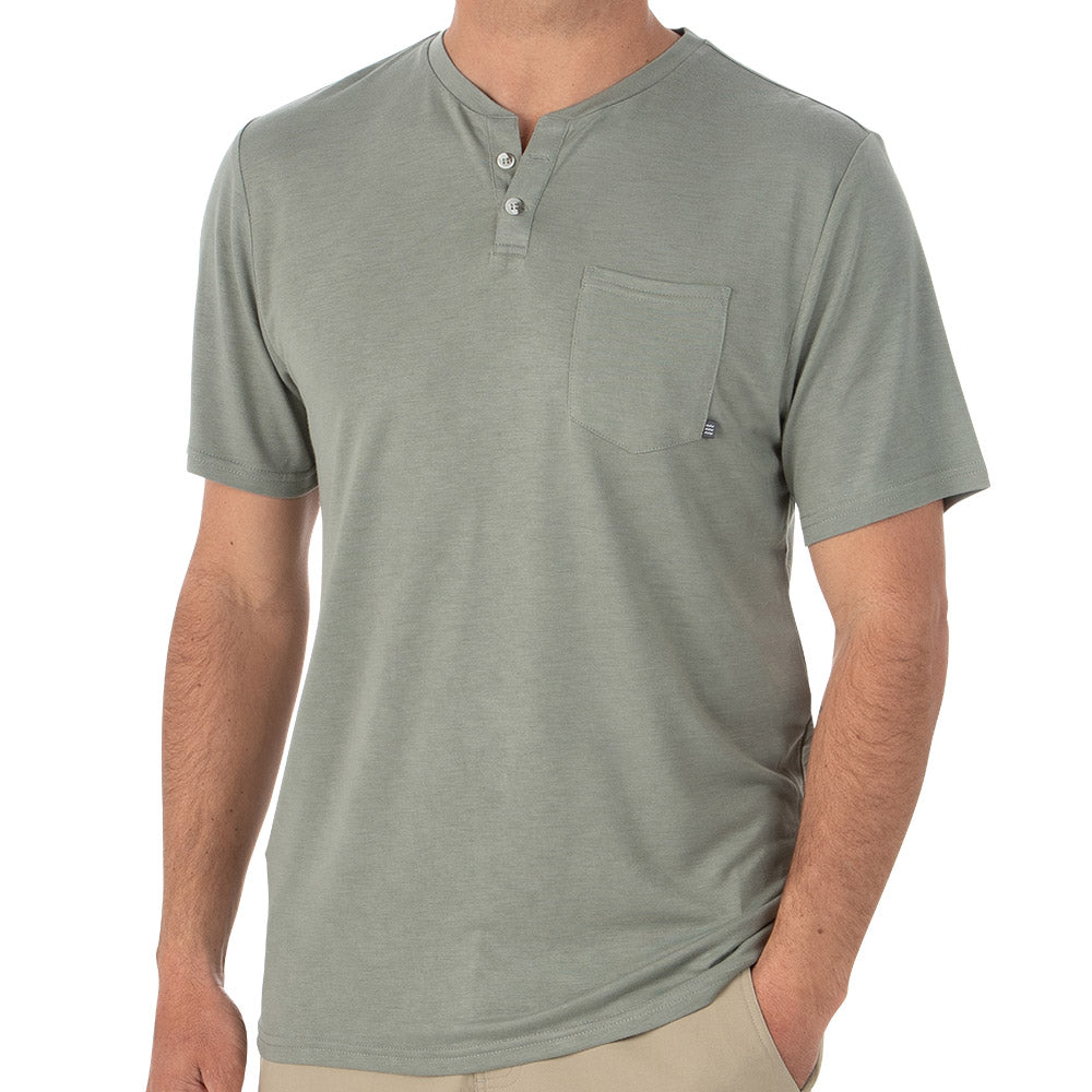 Free Fly Men's Bamboo Slacktide Short Sleeve Henley - Sale