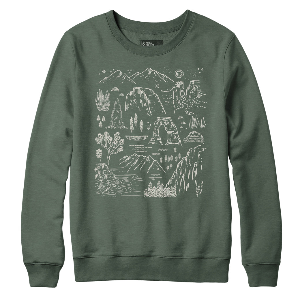 Parks Project Iconic National Parks Crew Sweatshirt - Olive