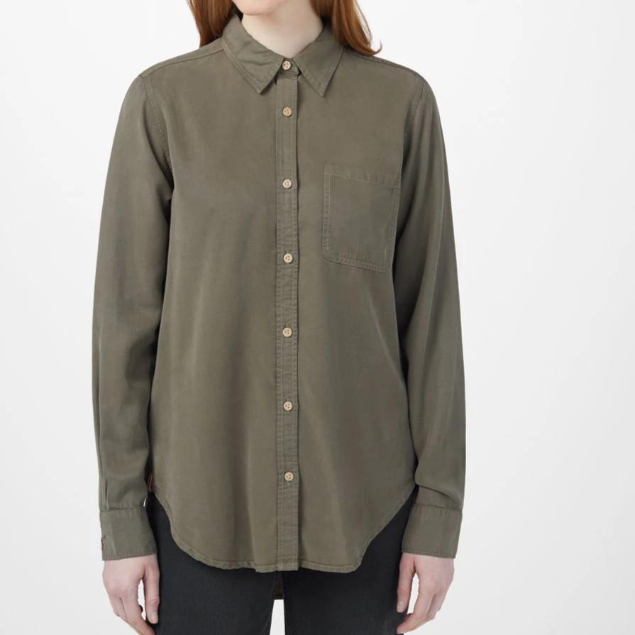 Tentree Women's Fernie Longsleeve Button Up - Olive Night Green
