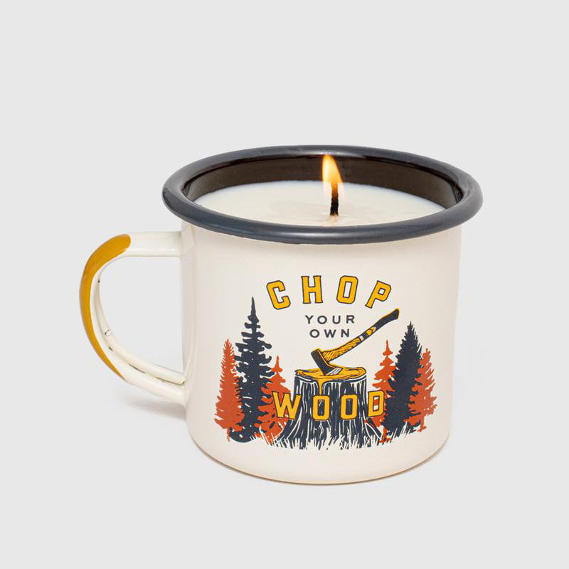 United By Blue Chop Your Own Wood Enamel Steel Mug Candle