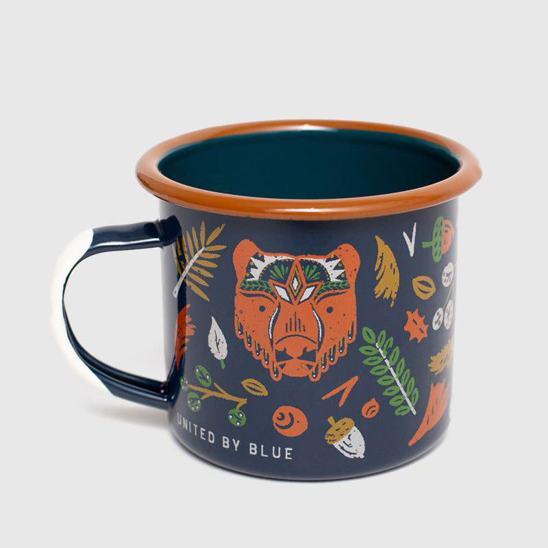 United By Blue Folk & Fauna Enamel 12 oz. Mug