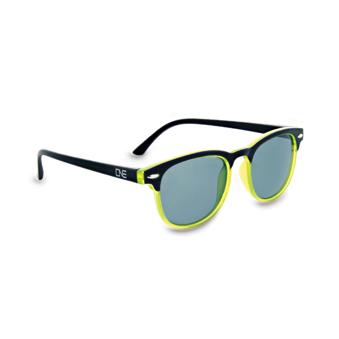 Optic Nerve Kid's Stiltskin Sunglasses - Shiny Black with Lime