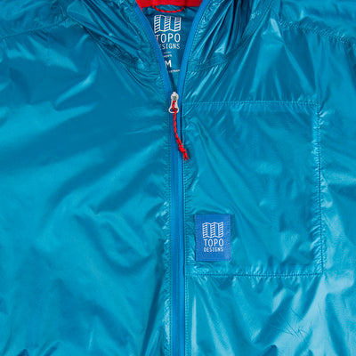 Topo Designs Men's Ultralight Jacket Blue Front Zipper Detail