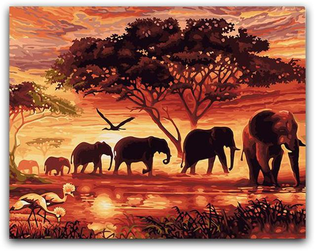 A Herd Of Elephants Paint By The Numbers Kit