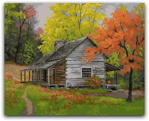 A House In The Woods Paint By The Numbers Kit