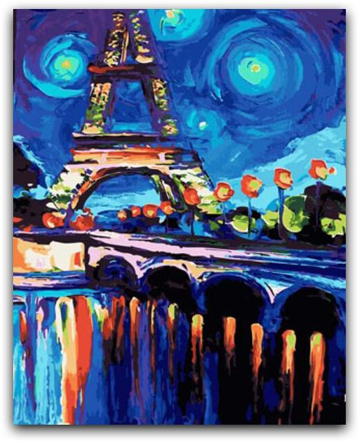 A Night Near The Eiffel Tower Paint By The Numbers Kit