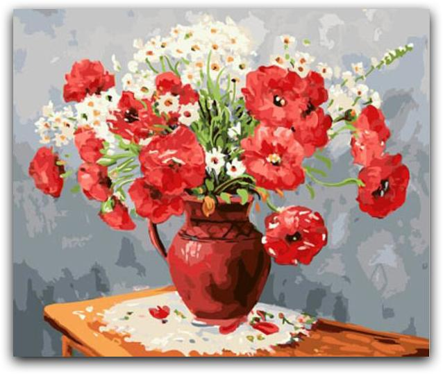 A Pot Of Red Flowers Paint By The Numbers Kit