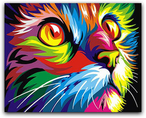 Abstract Colorful Cat Paint By The Numbers Kit