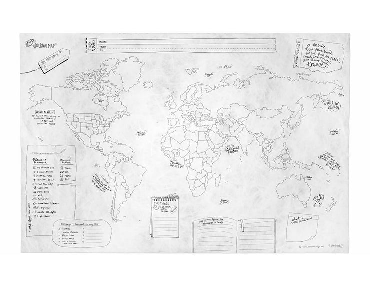 Travel Journal Map - Crumpled Paper