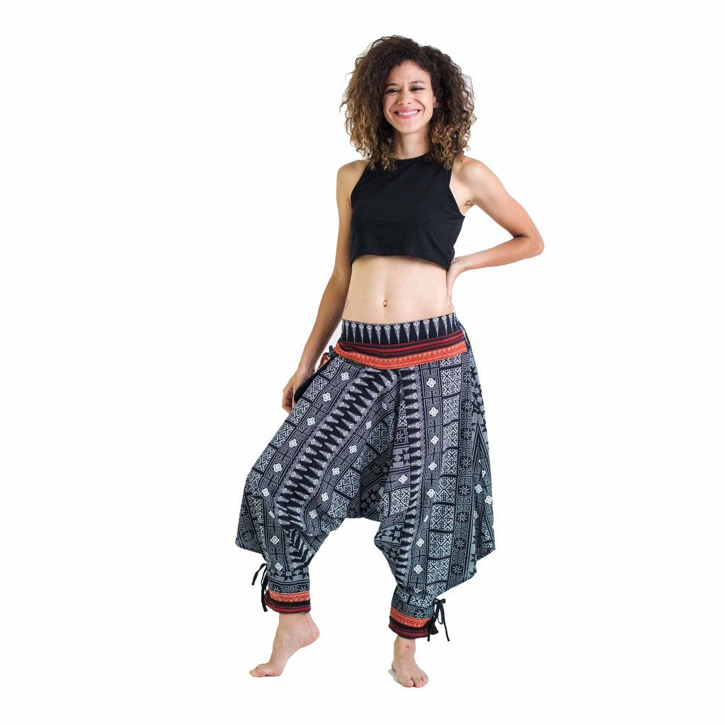 cf776245d71bf1 Thai Hill Tribe Harem Pants with Ankle Straps