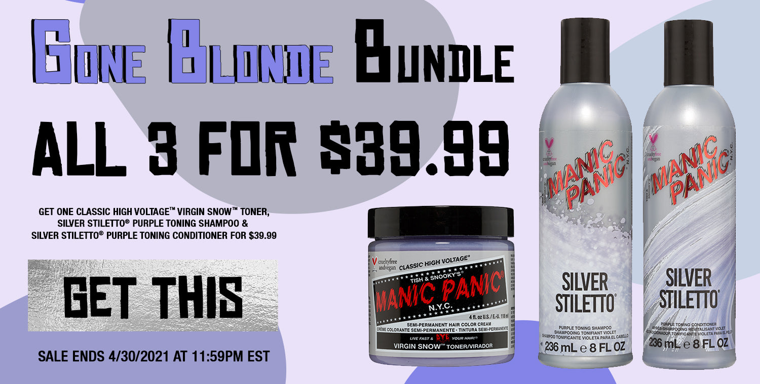 Get One Classic High Voltage™ Virgin Snow™ Toner, Silver Stiletto® Purple Toning Shampoo & Silver Stiletto® Purple Toning Conditioner For $39.99