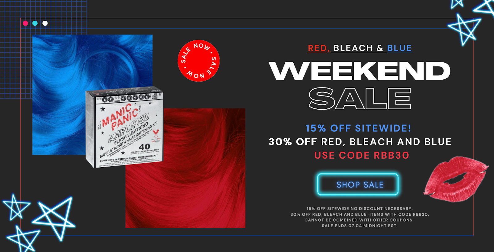 15% OFF SITEWIDE 30% OFF RED, BLEACH AND BLUE with code rbb30.