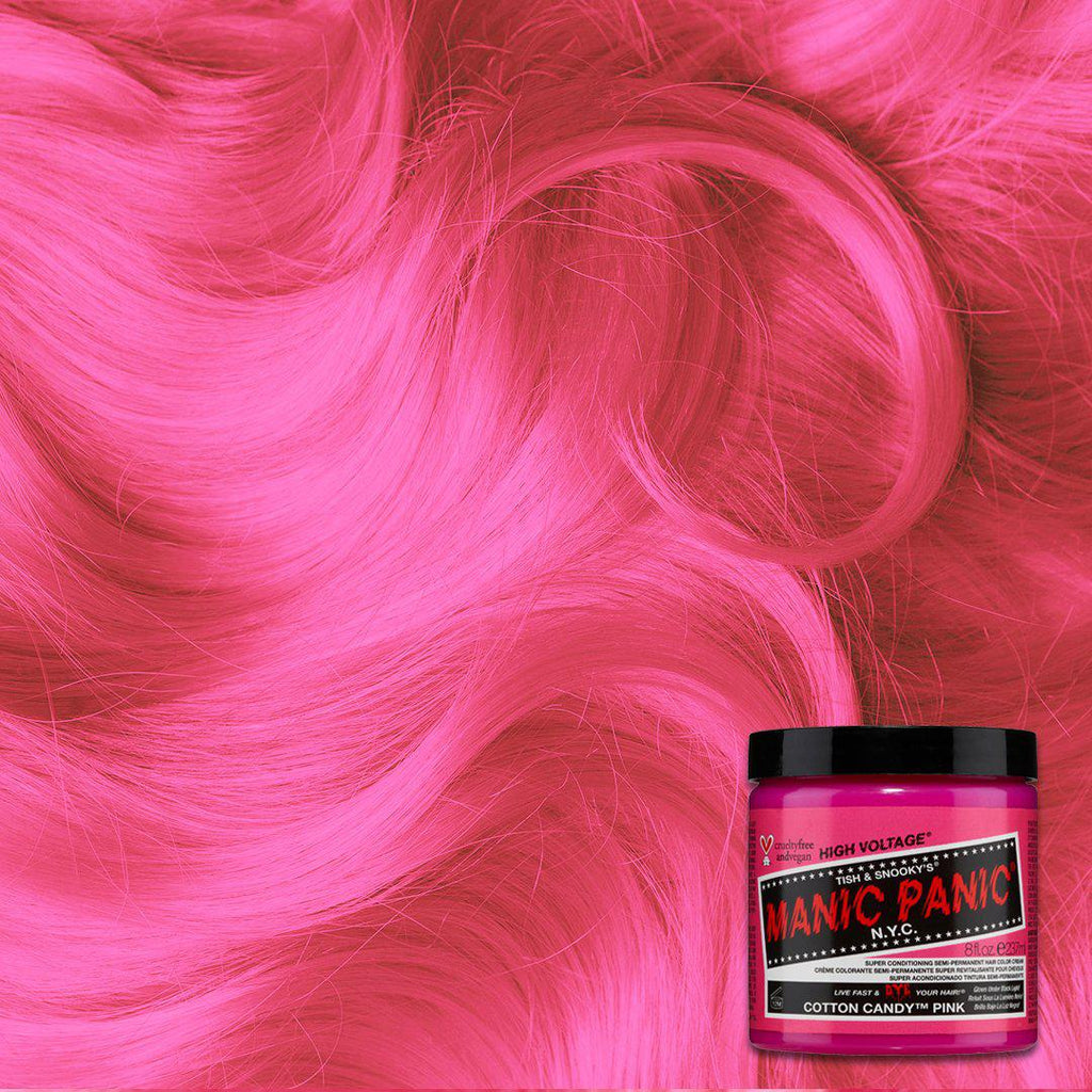 Cotton Candy™ Pink - Classic High Voltage® - Tish & Snooky's Manic Panic, rose, pink, rouge, flamingo, blush, peach, salmon, lemonade, taffy, bubblegum, ballet slipper, crepe, hair level, hair color, hair dye, manic panic semi permanent hair, swatch, color swatch, glow, neon, black light