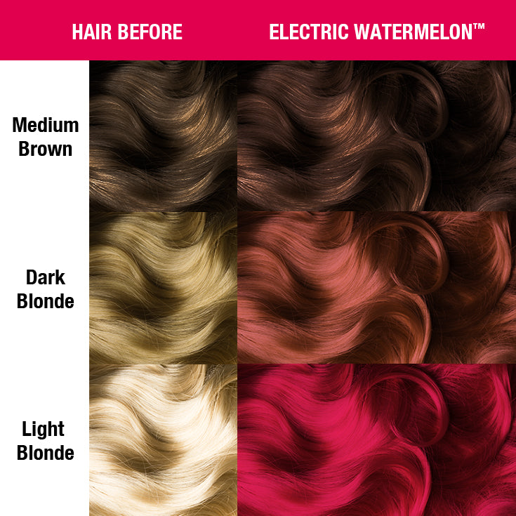 Classic Hair Color Electric Watermelon™ - Classic High Voltage® - Tish & Snooky's Manic Panic, carmine, cerise, violet, medium violet, ribbon, radical, red, torch, coral, imperial, indian, maroon, raspberry, hair level, hair color, hair dye, hair swatch, manic panic semi permanent hair, neon, glow, black light