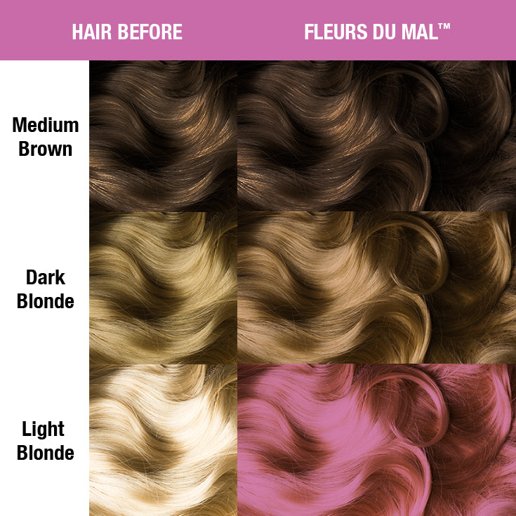 Fleurs Du Mal® Creamtone® Perfect Pastel - Tish & Snooky's Manic Panic, light mulberry red, hacienda rose, salmon, french rose, rose beige, french pink, moss rose, old rose, colonial rose, spanish rose, dixie dusk, red clay, dusty rose, amaranth, lavender, carnation, flamingo, hair level, hair dye, hair color, manic panic semi permanent hair, bleached hair