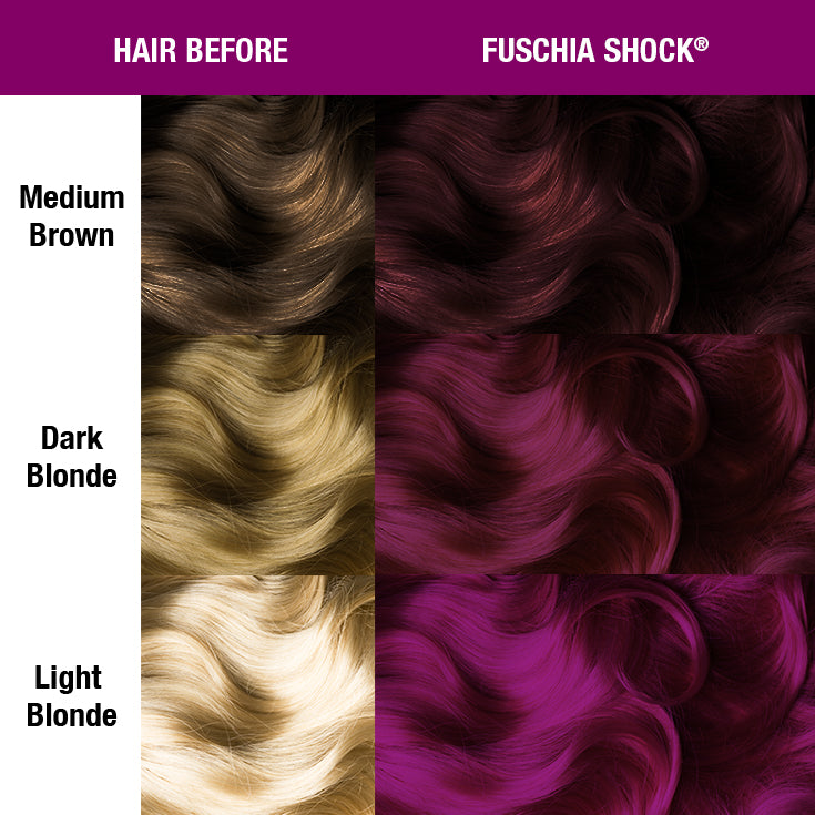Fuschia Shock® - Classic High Voltage® - Tish & Snooky's Manic Panic, pizzazz, spicypink, purple, dark magenta, rose, grape, red coat, magenta, fuchsia, fuschia, royal, hair color, hair swatch, hair dye, hair level, works on dark hair, manic panic semi permanent hair