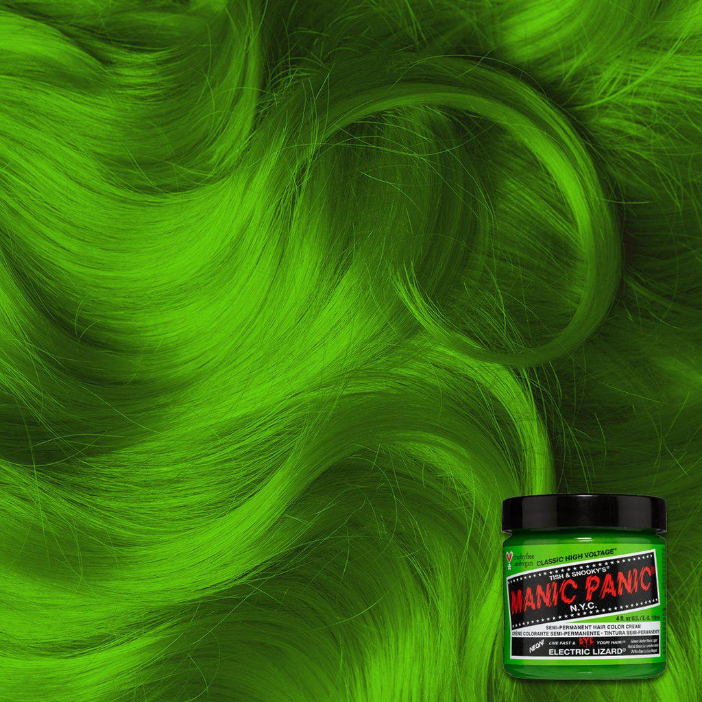 Electric Lizard™ - Classic High Voltage® - Tish & Snooky's Manic Panic, chartreuse, lime, emerald, shamrock, parakeet, green, neon, glow, spring green, kelly green, harlequin, black light, hair level, hair swatch, hair dye, hair color, manic panic semi permanent hair