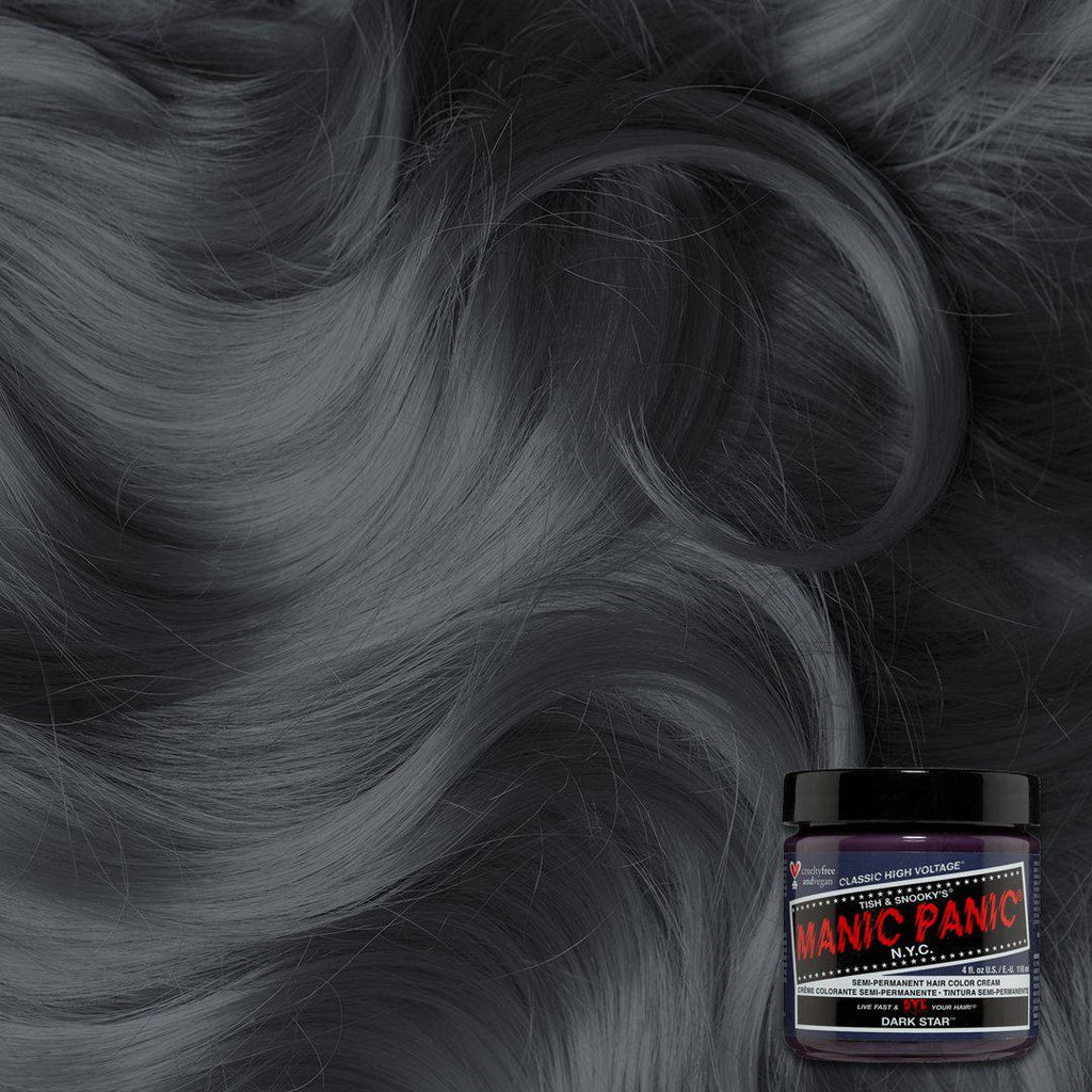 Classic Hair Color Dark Star™ - Classic High Voltage® - Tish & Snooky's Manic Panic, steel, gray, fossil, iron, charcoal, anchor, shadow, metal, grey, oscuro, purple, dark purple, toner, hair level, hair swatch, color swatch, manic panic semi permanent hair