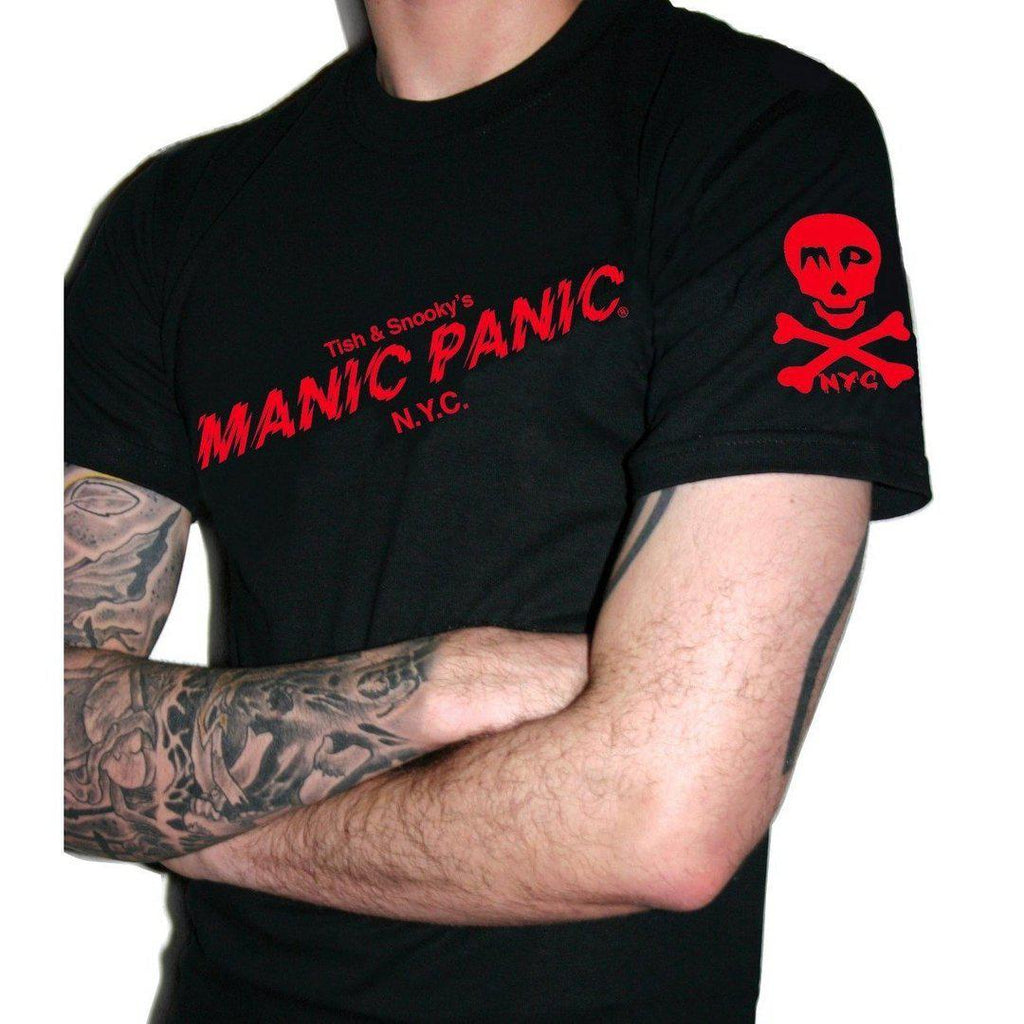 Tish & Snooky's Manic Panic Apparel Small UNISEX TEE  - BLACK W/RED LOGO