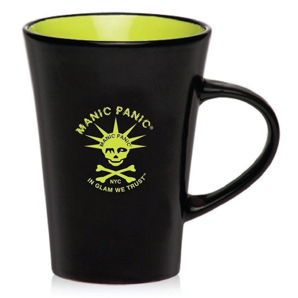 Tish & Snooky's Manic Panic Housewares BLACK MUG W/LIME SKULLY