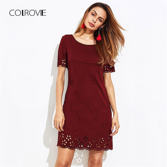 704b12e27c COLROVIE Burgundy Scallop Laser Cut Keyhole Back Workwear Shift Dress -  Benovelent