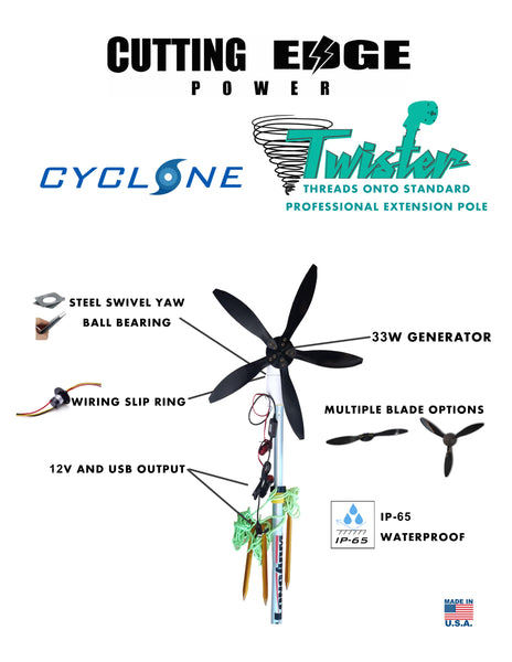 33W Cyclone 12FT Twister Swivel Wind Turbine 12V USB output, Portable Generator