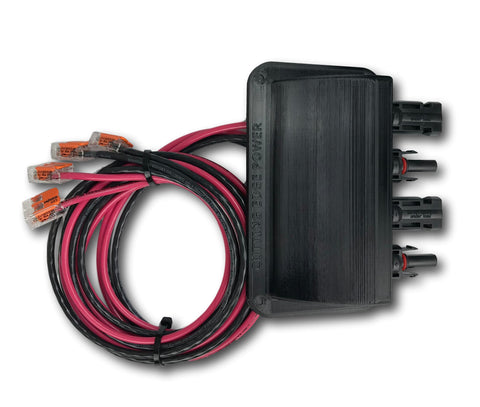MC4 Solar Panel Weatherproof Cable Wire Entry Housing, w Connectors, Made in USA - 4 Ports / 5 Ft