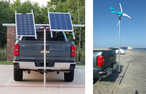 "Wind Turbine Solar Panel Mount RV / Truck / Trailer Tow Hitch Portable Temporary - Fits 2"" [ 2.375"" ] Pipe"