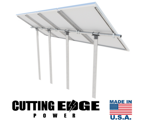 "USA Heavy Duty Pipe / Pole / Tube. 1/4"" Steel Solar Panel PV Mount / Bracket Rail Kit - Cutting Edge Power"